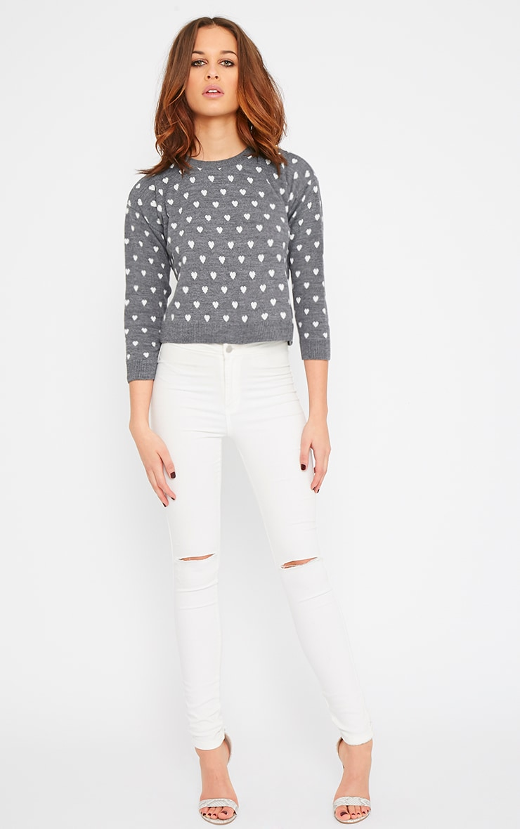 Kyna Grey Heart Print Sweater 3