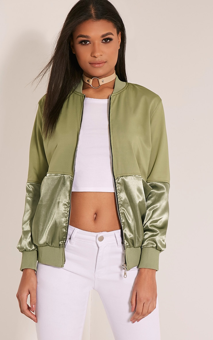 Eva Khaki Satin Panel Scuba Bomber Jacket 1
