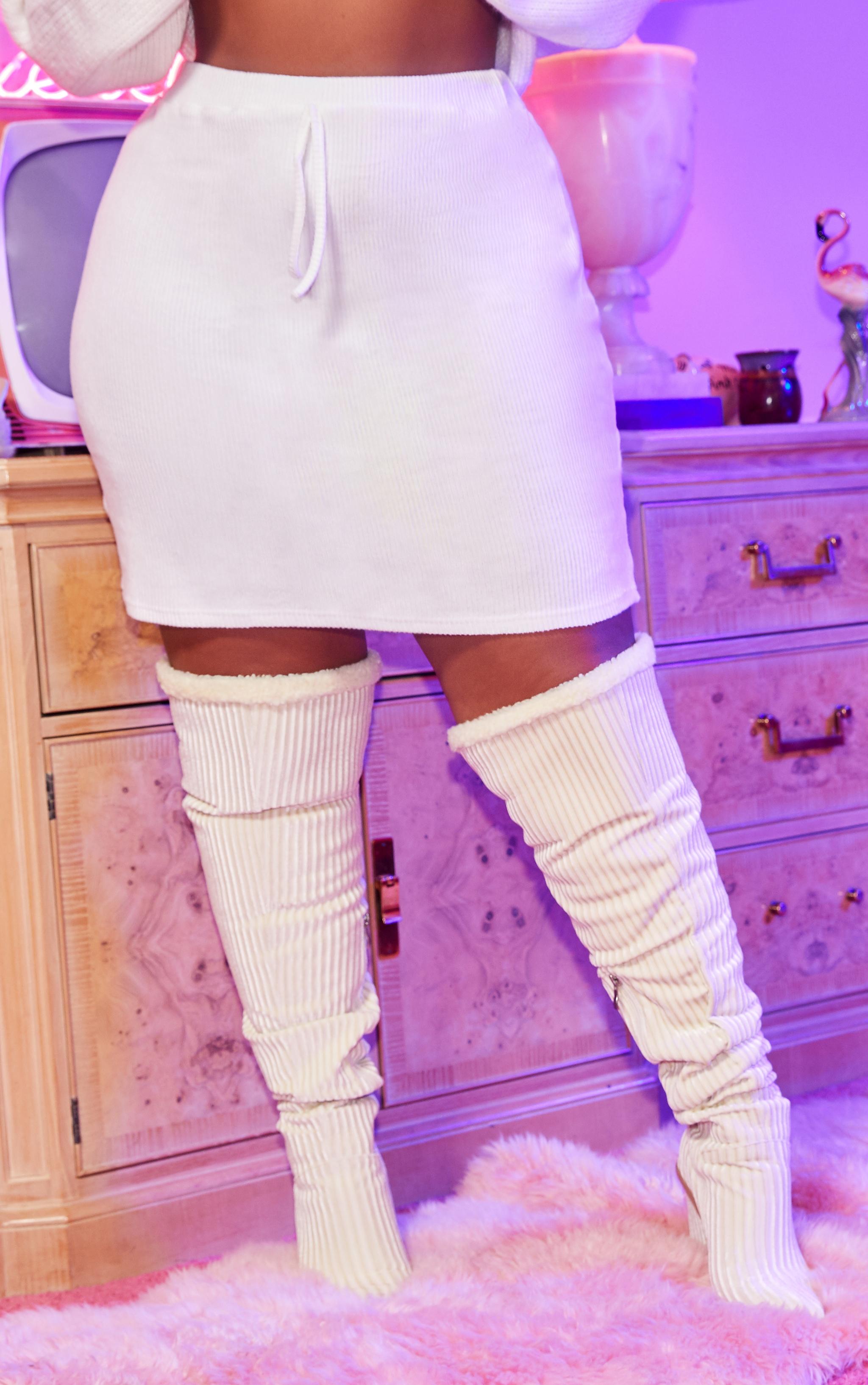 Plus Cream Brushed Rib Tie Waist Skirt 2