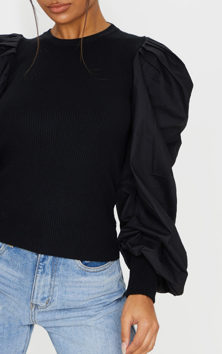 Black Extreme Poplin Sleeve Knitted Jumper 5
