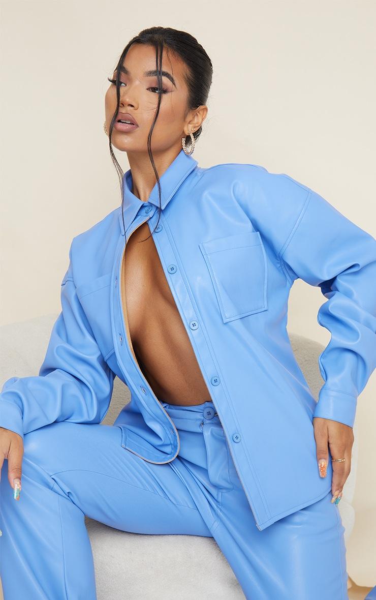 Cornflower Blue Faux Leather Oversized Shirt 3