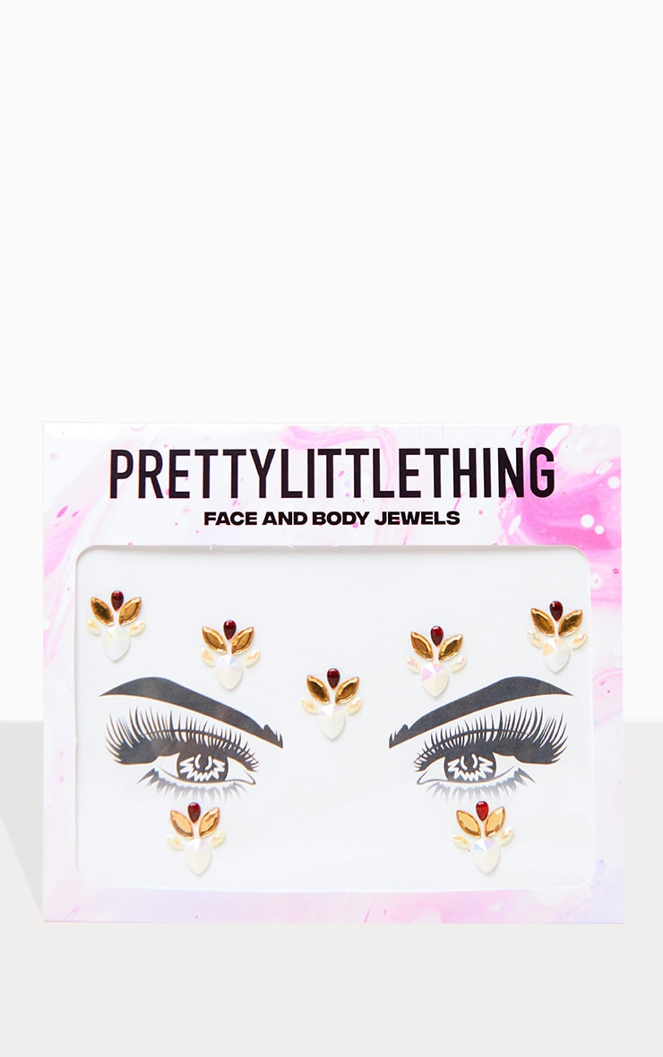 PRETTYLITTLETHING Gold Flower Child Face Jewel 1