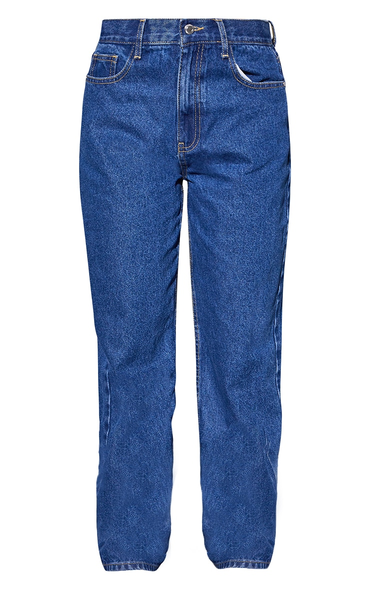Recycled Mid Blue Wash Basic Low Rise Baggy Boyfriend Jeans 5