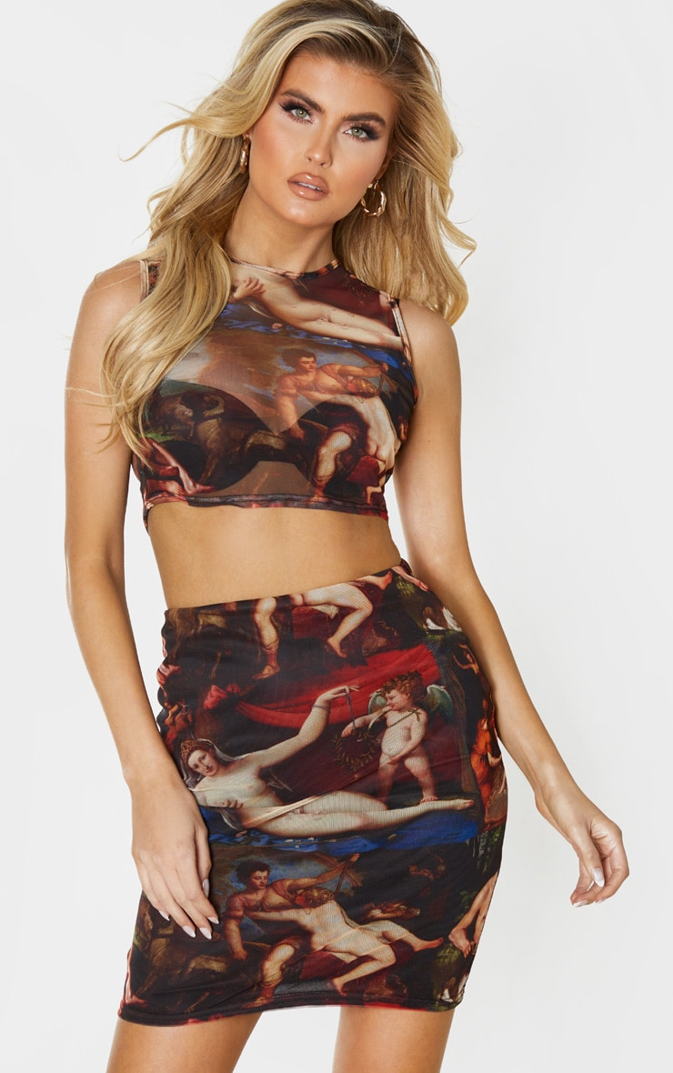 Tall Brown Renaissance Print Mesh Sleeveless Crop Top 1