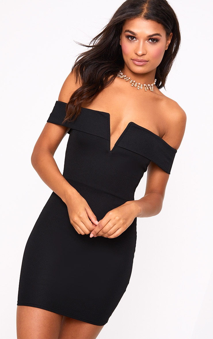 Black Bardot V Plunge Bodycon Dress 1