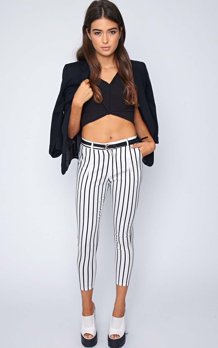 Cassie White Stripe Cropped Trouser  1