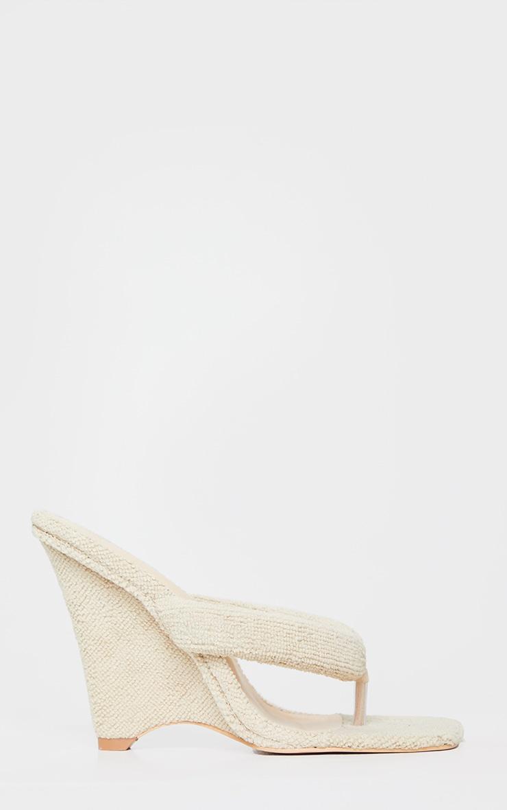 Sand Towelling Wedge Toe Thong Heels 3