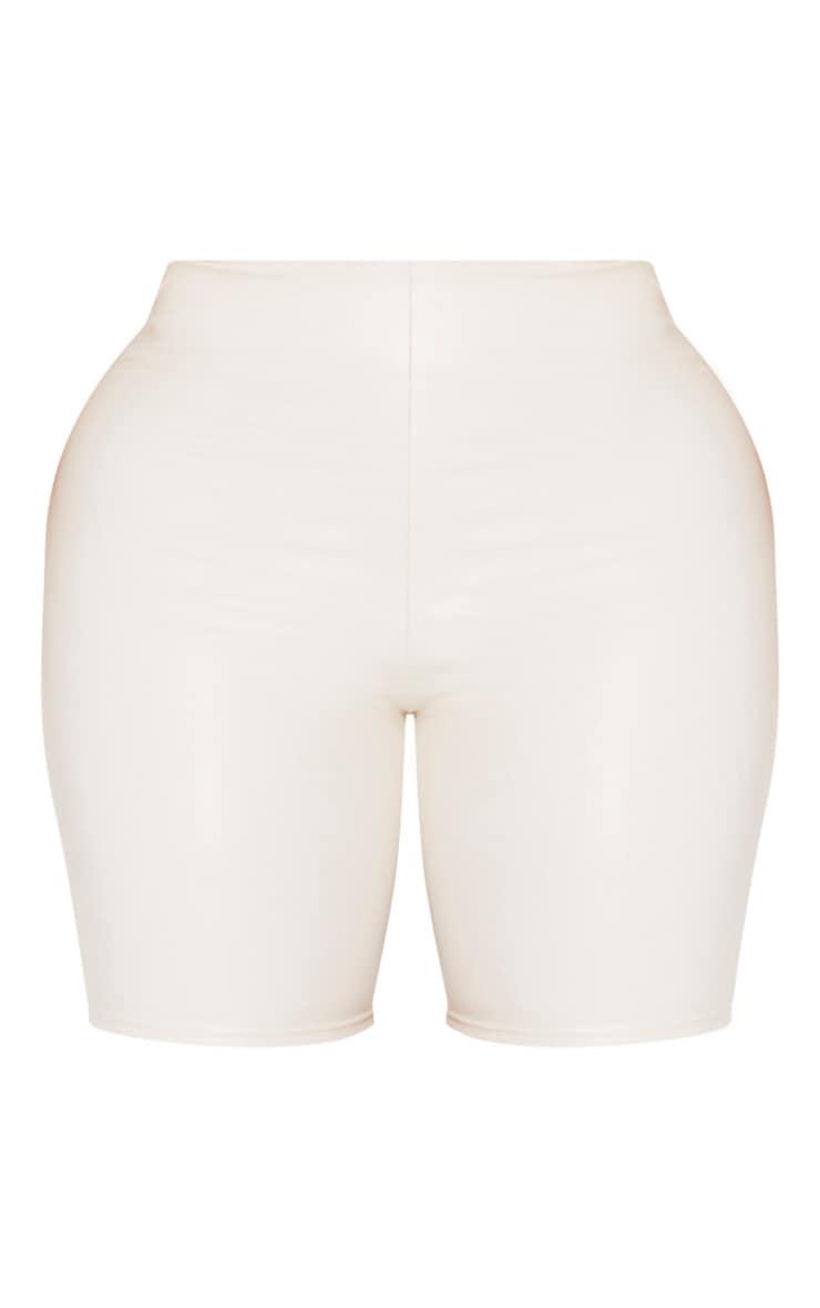Shape Cream High Waisted PU Bike Shorts 3