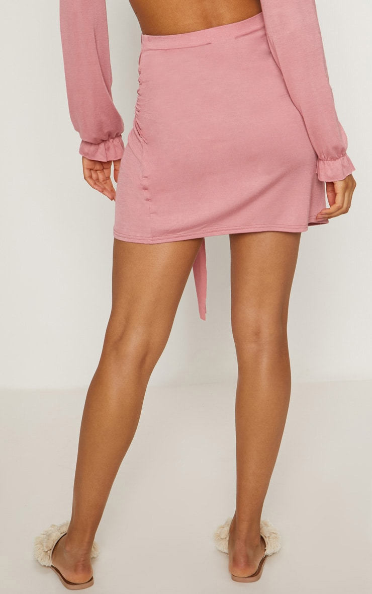 Rose Jersey Tie Side Split Mini Skirt  4