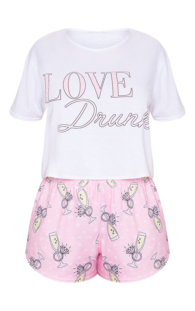 White Love Drunk Hen Party Printed Short PJ Set 5