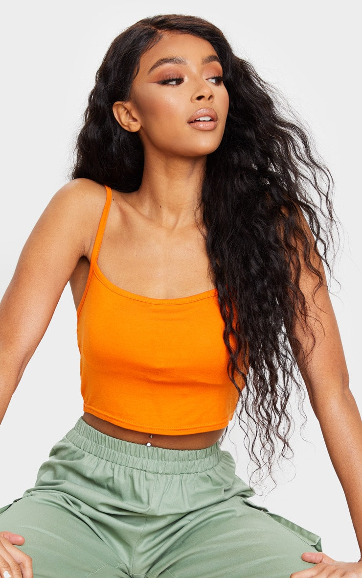 Orange Strappy Jersey Crop Top 1
