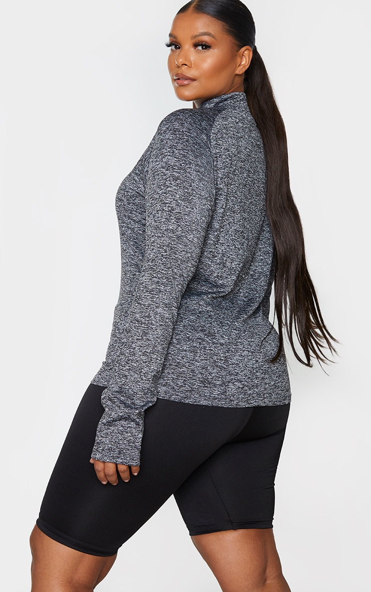 Plus Black Speckle Long Sleeve Zip Up Sports Top 2