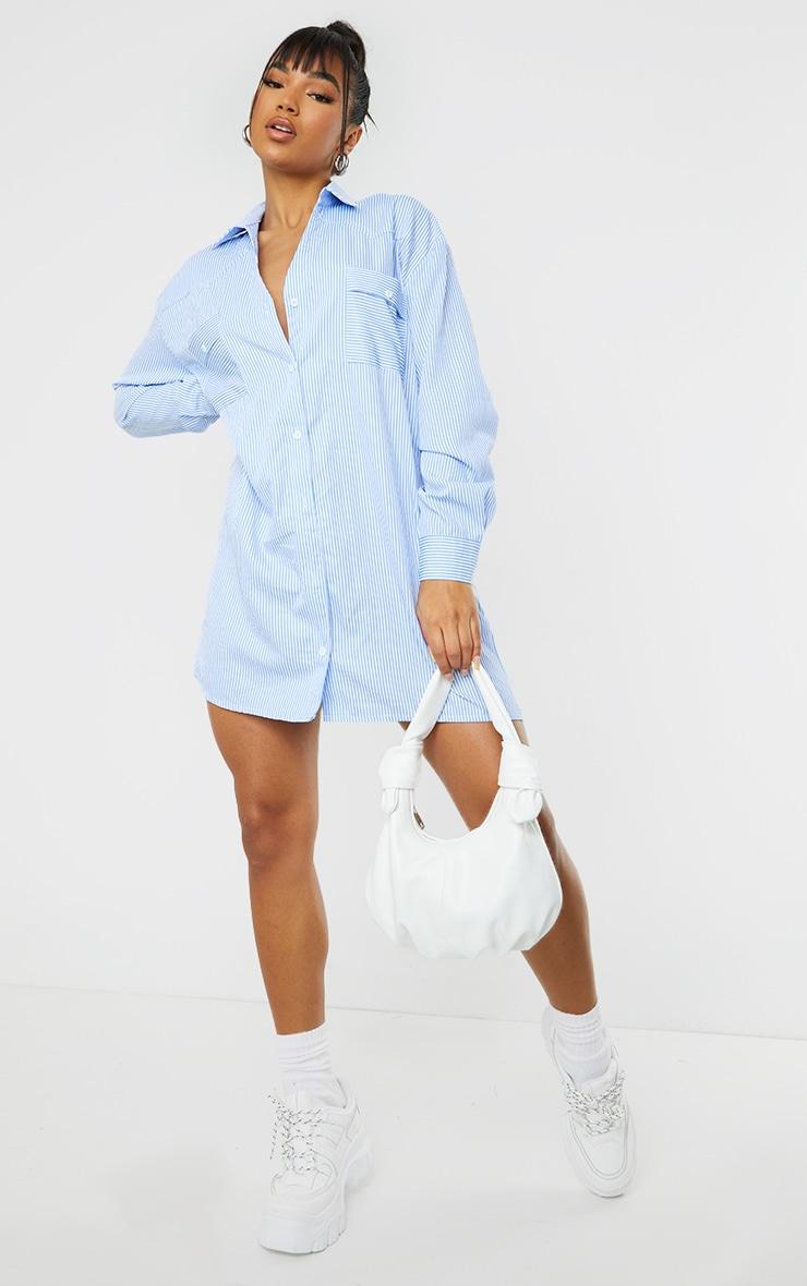 Blue Stripe Yoke Detail Button Up Oversized Shirt Dress 1