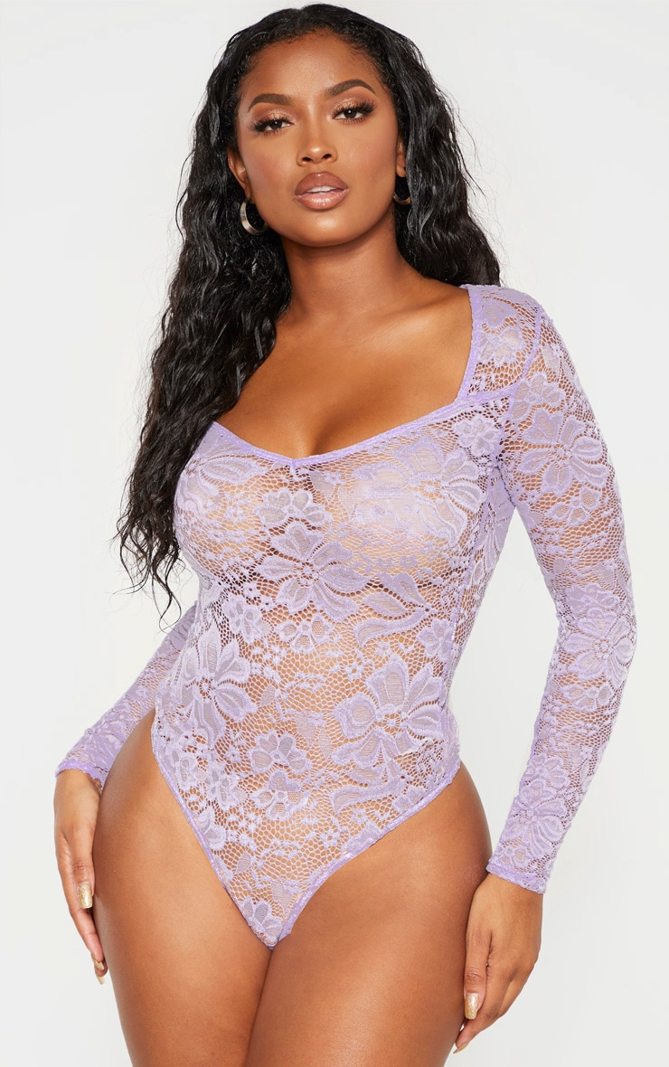 Shape Lilac Lace V Neck Long Sleeve Bodysuit 2