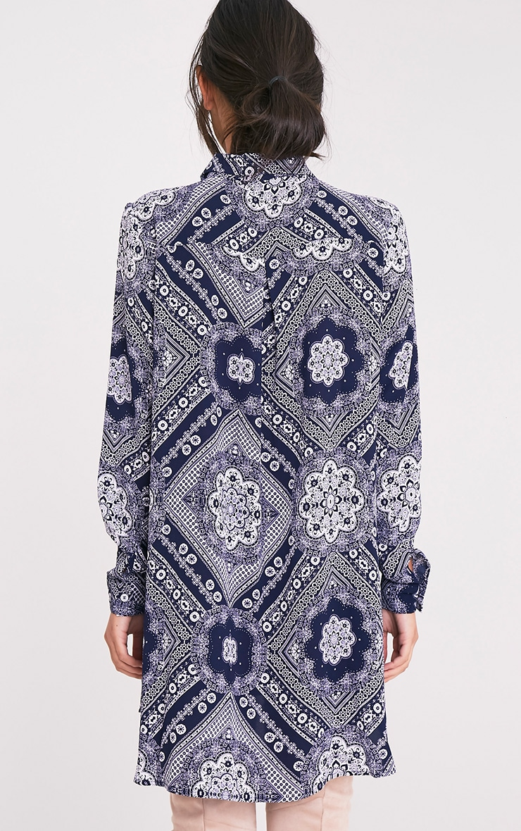 Camille Navy Paisley Print Shirt Dress 2