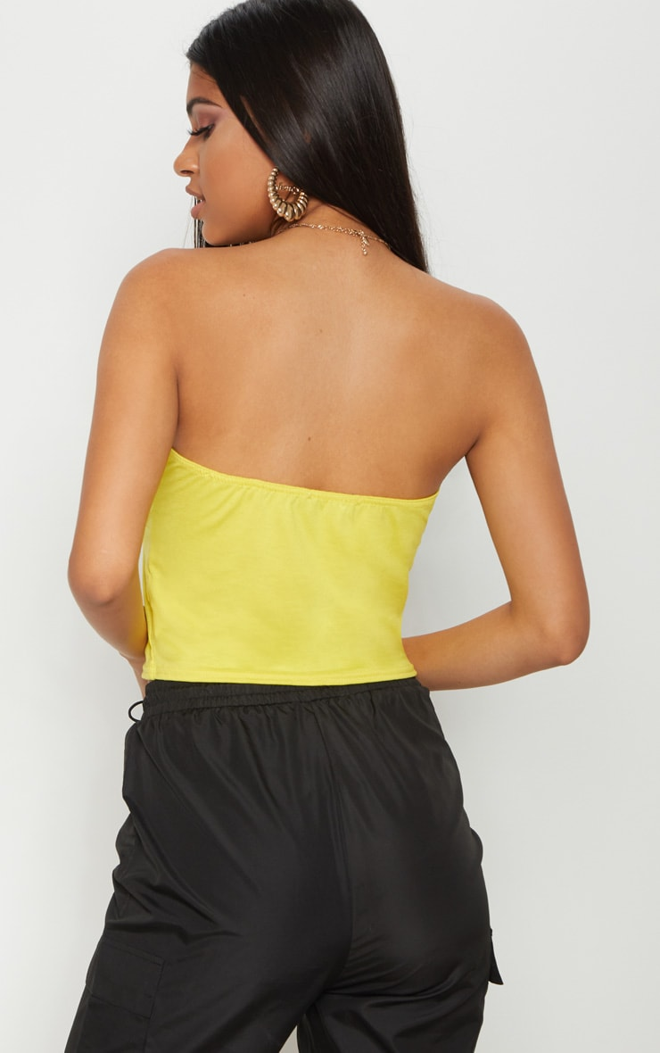 Basic Yellow Ruched Front Bandeau Crop Top  2