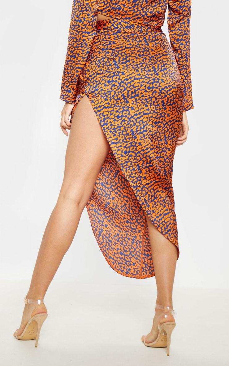 Orange Leopard Print Asymmetric Midi Skirt 4