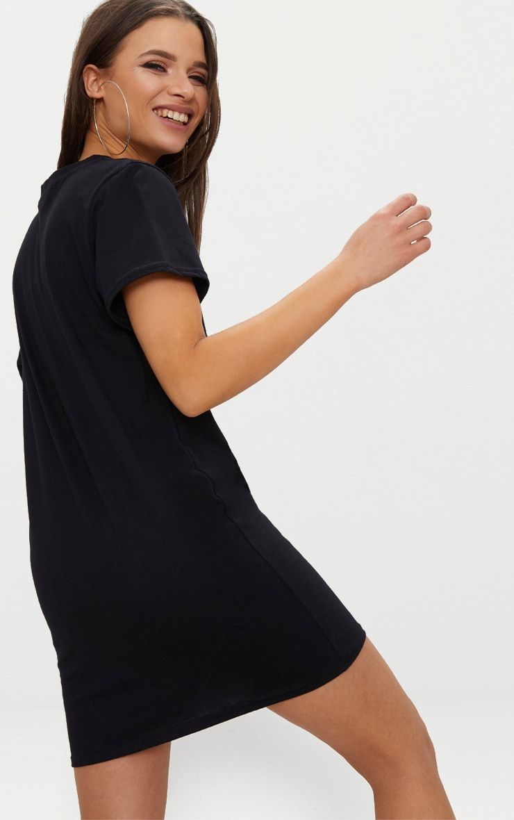 Black Embroidered Oui T-Shirt Dress (black base with white print) 2