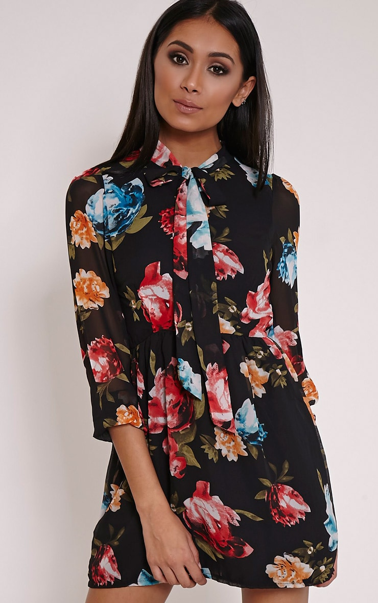 Dalia Black Floral Pussybow Dress 3