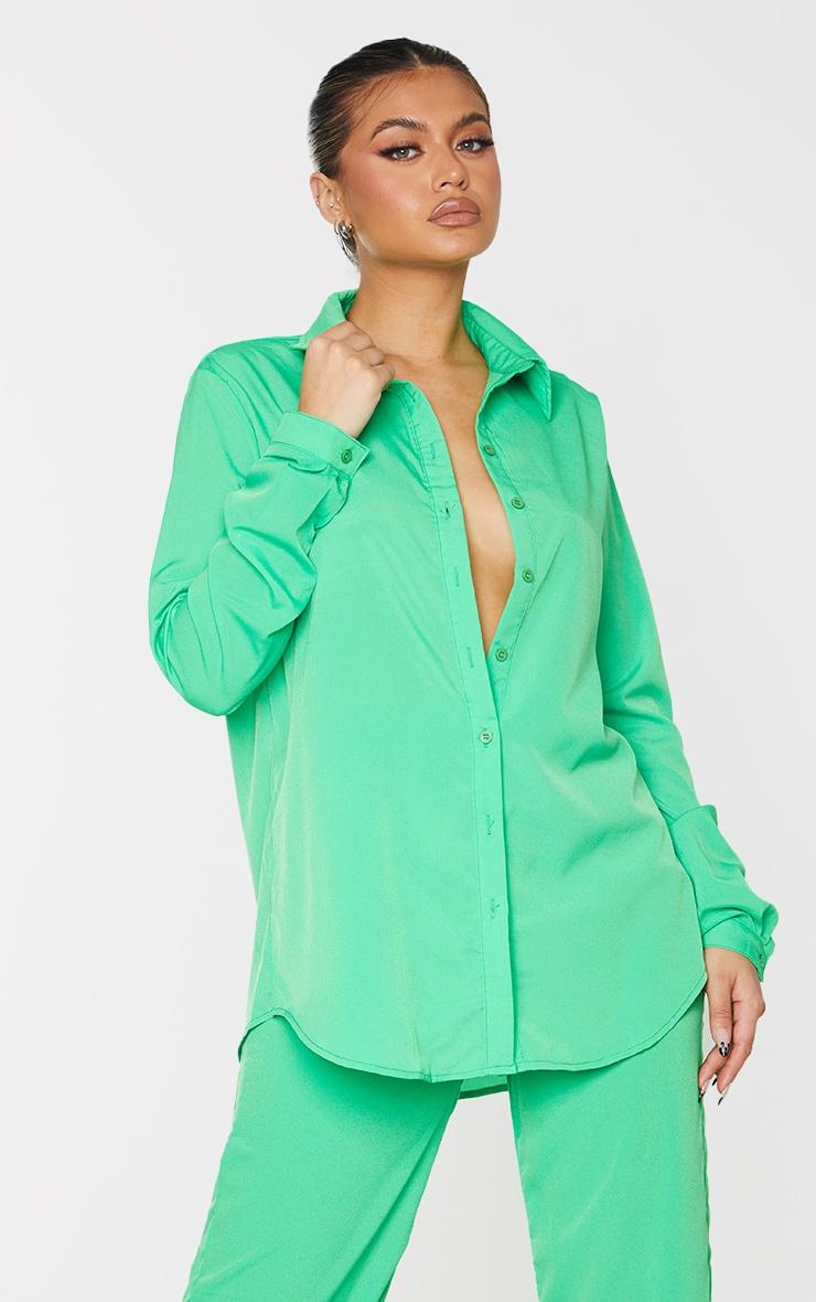 Bright Green Oversized Long Sleeve Shirt 1