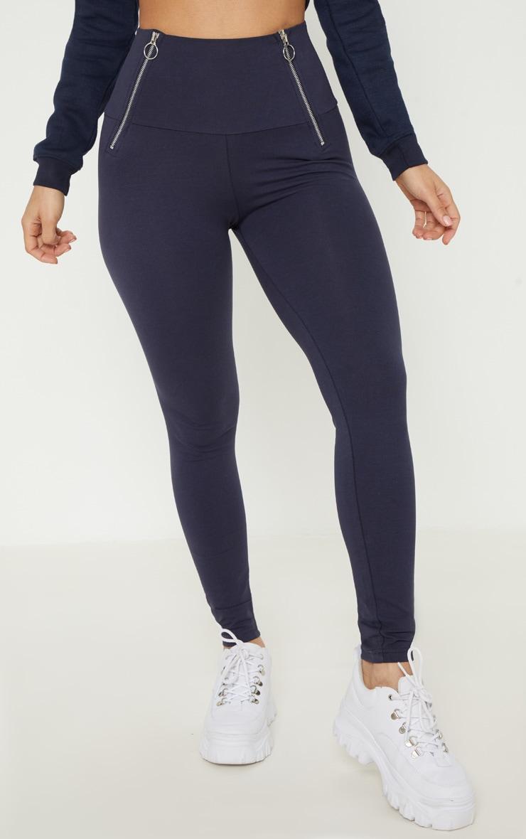 Legging bleu marine à poches zippées 2