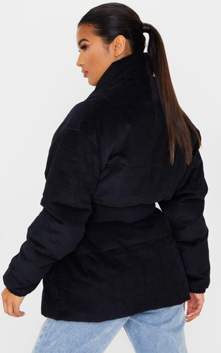 Black Cord Collar Tie Waist Puffer Jacket 2