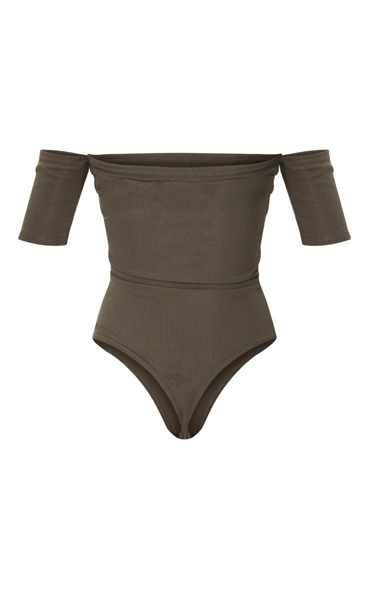 Khaki Popper Front Bardot Thong Bodysuit 4