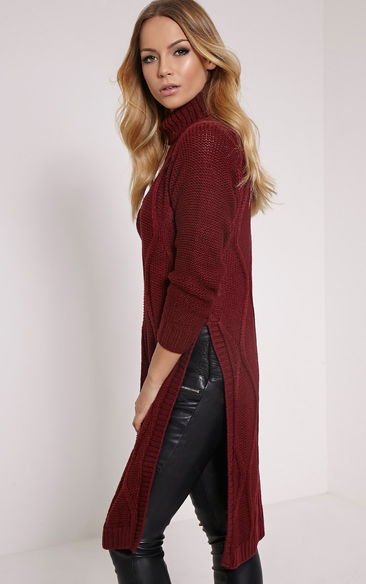 Lark Oxblood Cable Knit Side Split Jumper 1