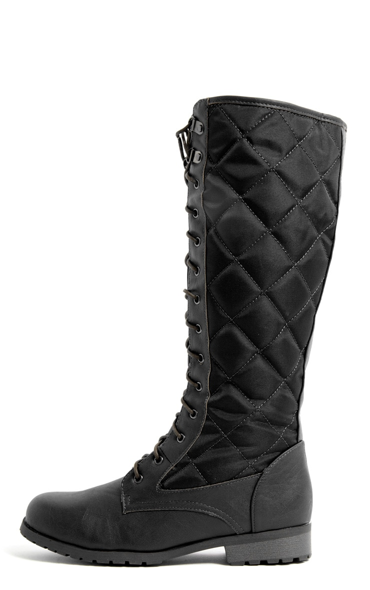 Kasey Black Quilted Lace Up Boot 1