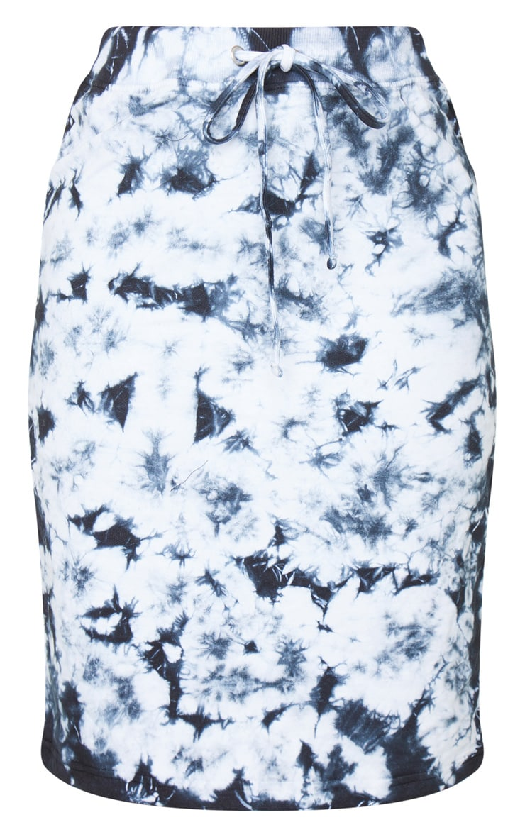 Petite Black Tie Dye Sweat Midi Skirt 5