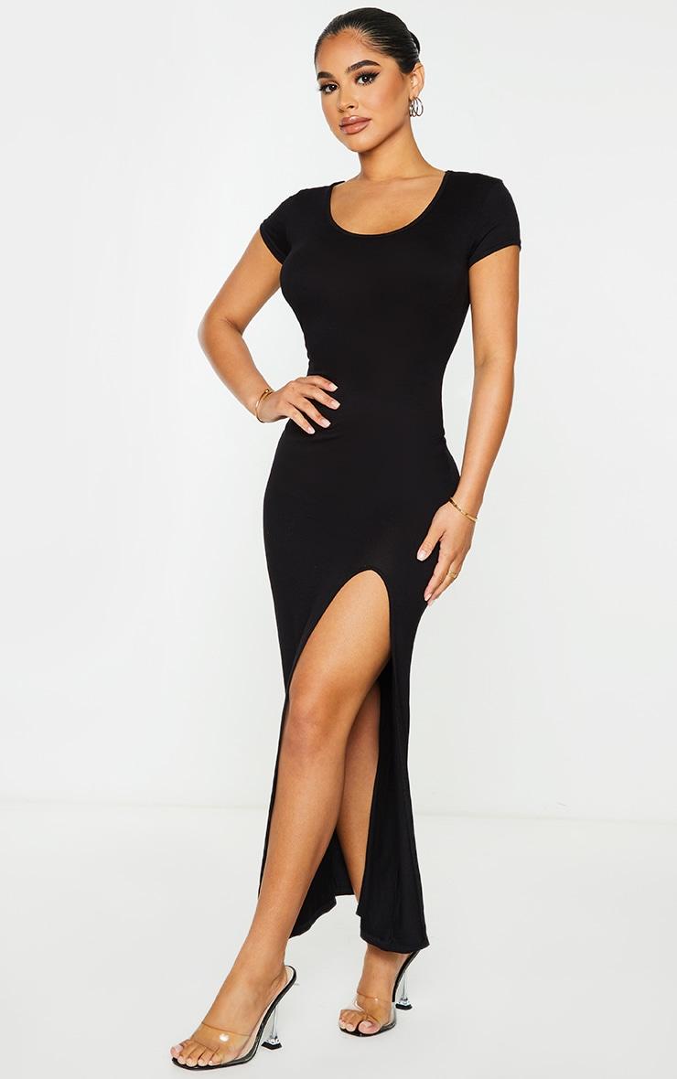 Petite Black Jersey T Shirt Midi Dress 4