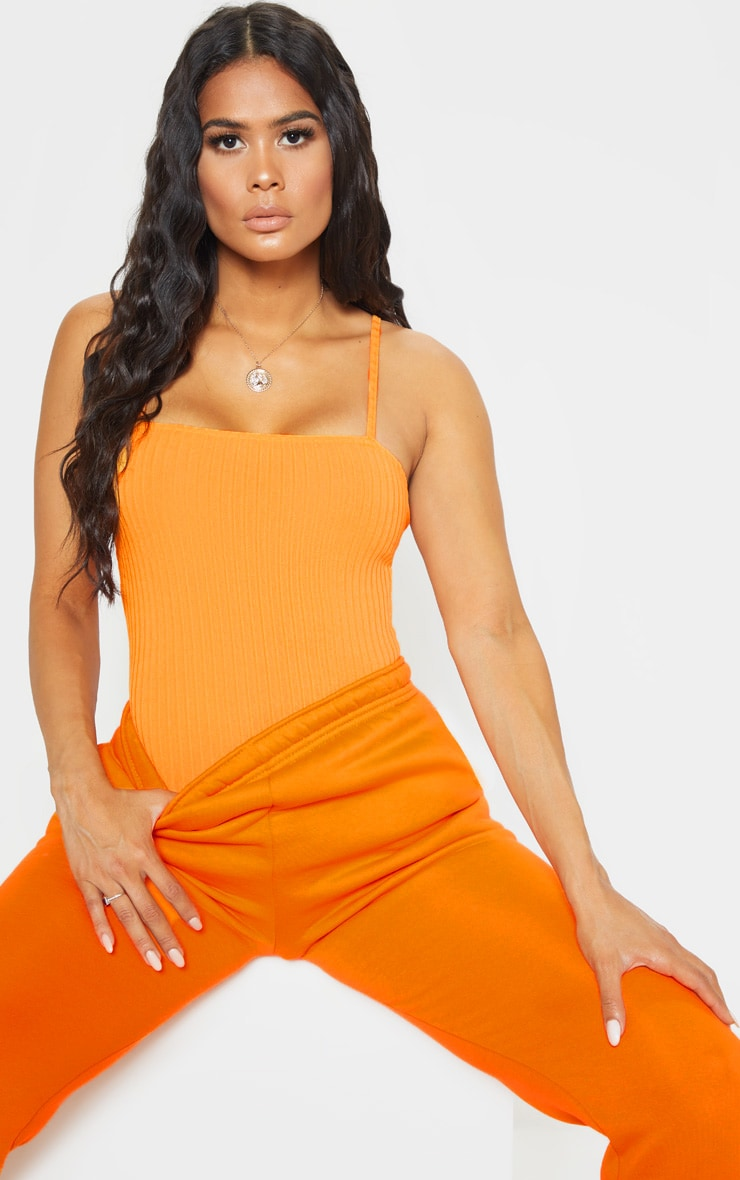 Orange Rib Strappy Sleeveless Bodysuit 1
