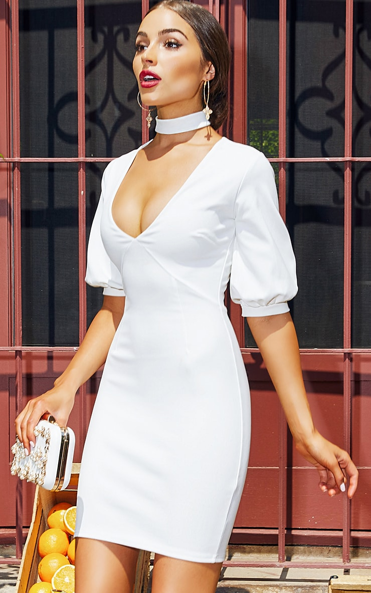 White Neck Tie Puff Sleeve Bodycon Dress 1