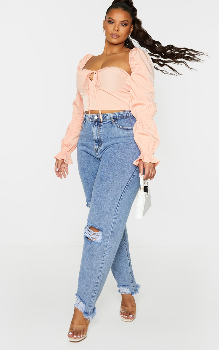 Plus Peach Puff Sleeve Bardot Crop Top 3