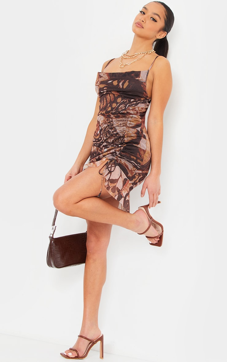 Petite Stone Butterfly Ruched Mesh Dress 3