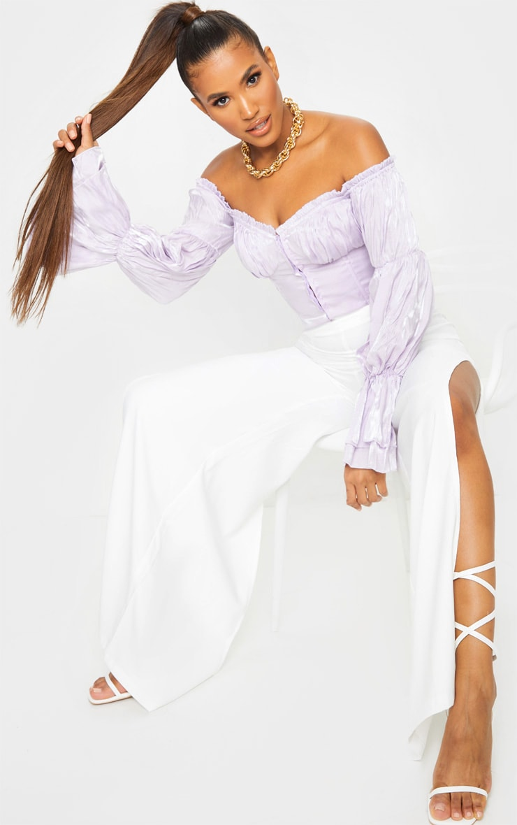 Lilac Sheer Cup Detail Bardot Long Sleeve Corset Top 3