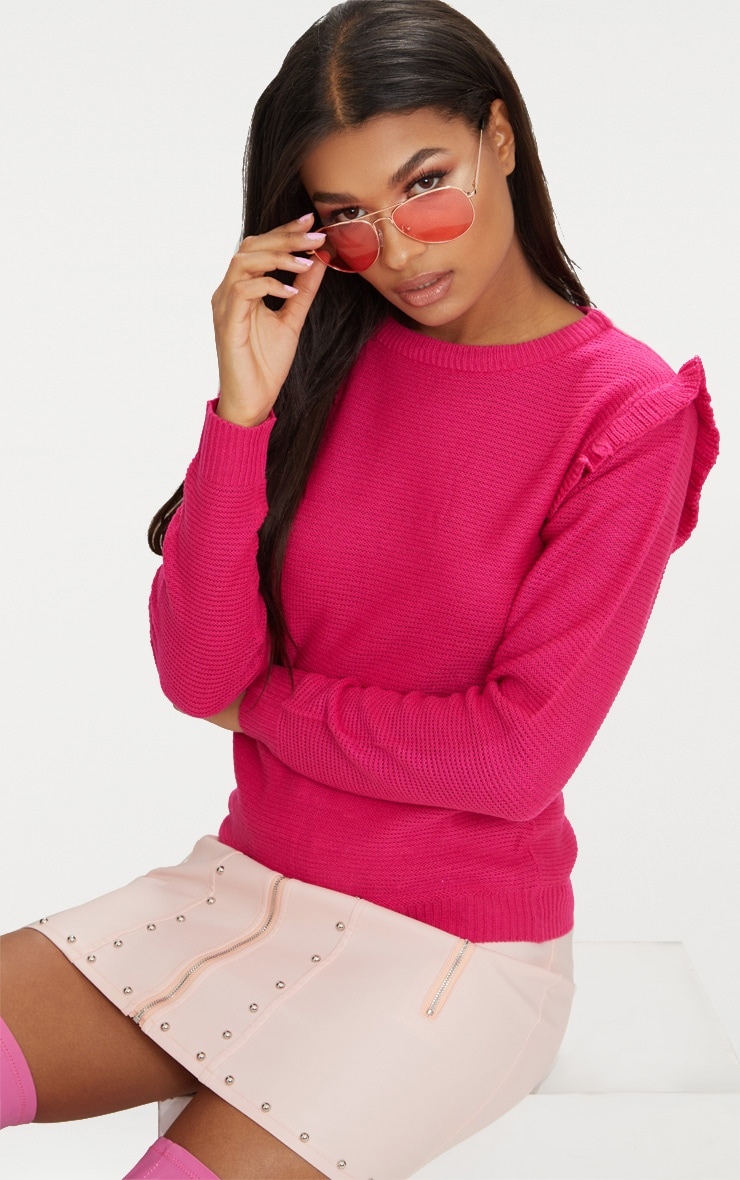 Hot Pink Frill Shoulder Jumper 1