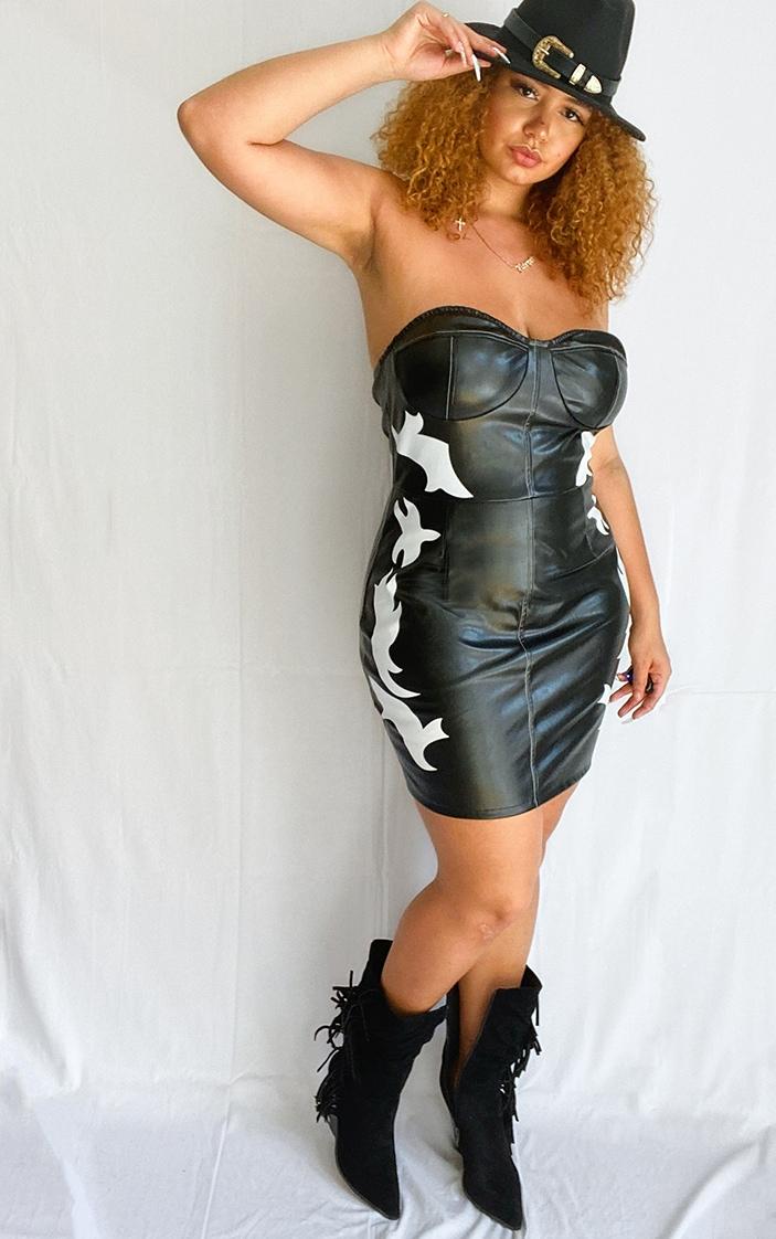 Plus Black PU Western Style Bandeau Bodycon Dress 1