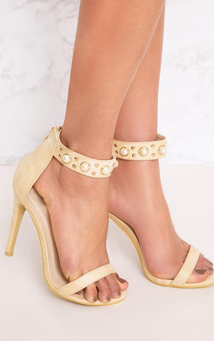 8ed0178c170 Cream Pearl Strap Heels image 1