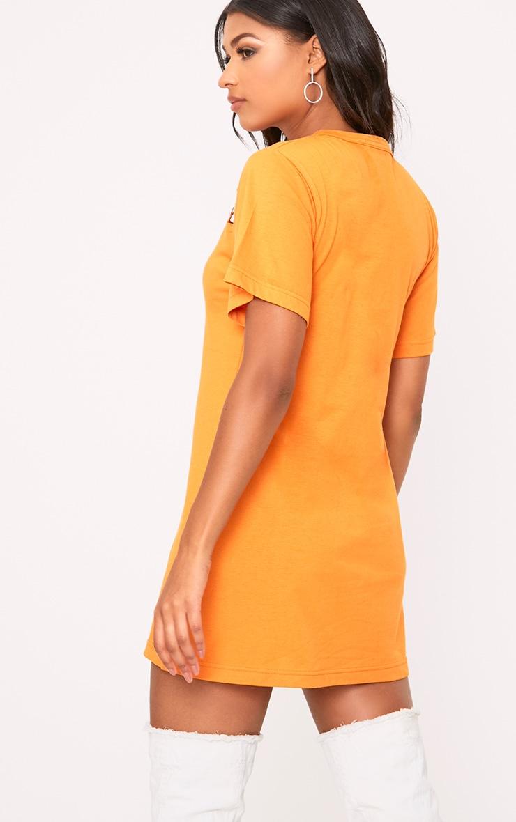 Orange Jersey Ring Chest Detail T Shirt Dress  2