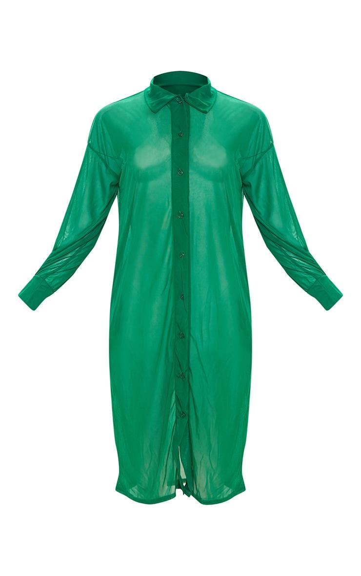 Plus Green Oversized Midi Beach Shirt 3