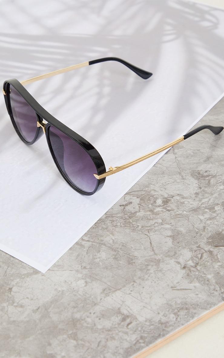 Black Frame With Black Lens Aviator Sunglasses 2