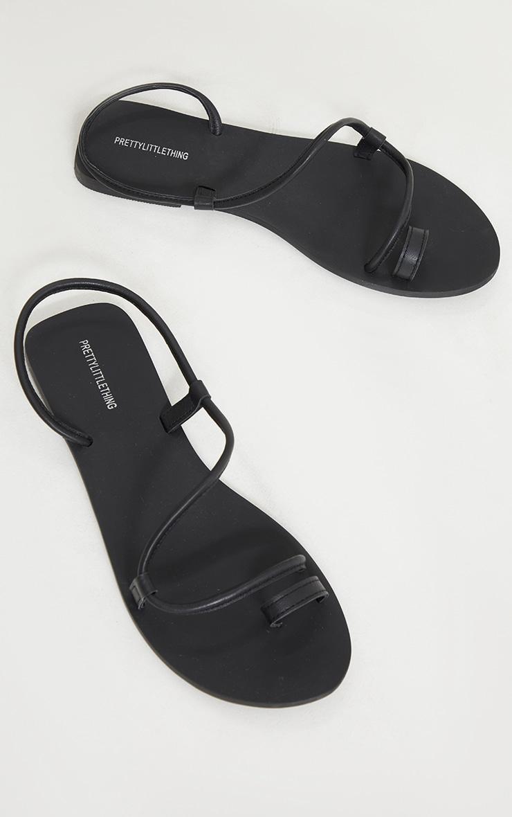 Black Real Leather Toe Loop Tube Strap Sandals 3