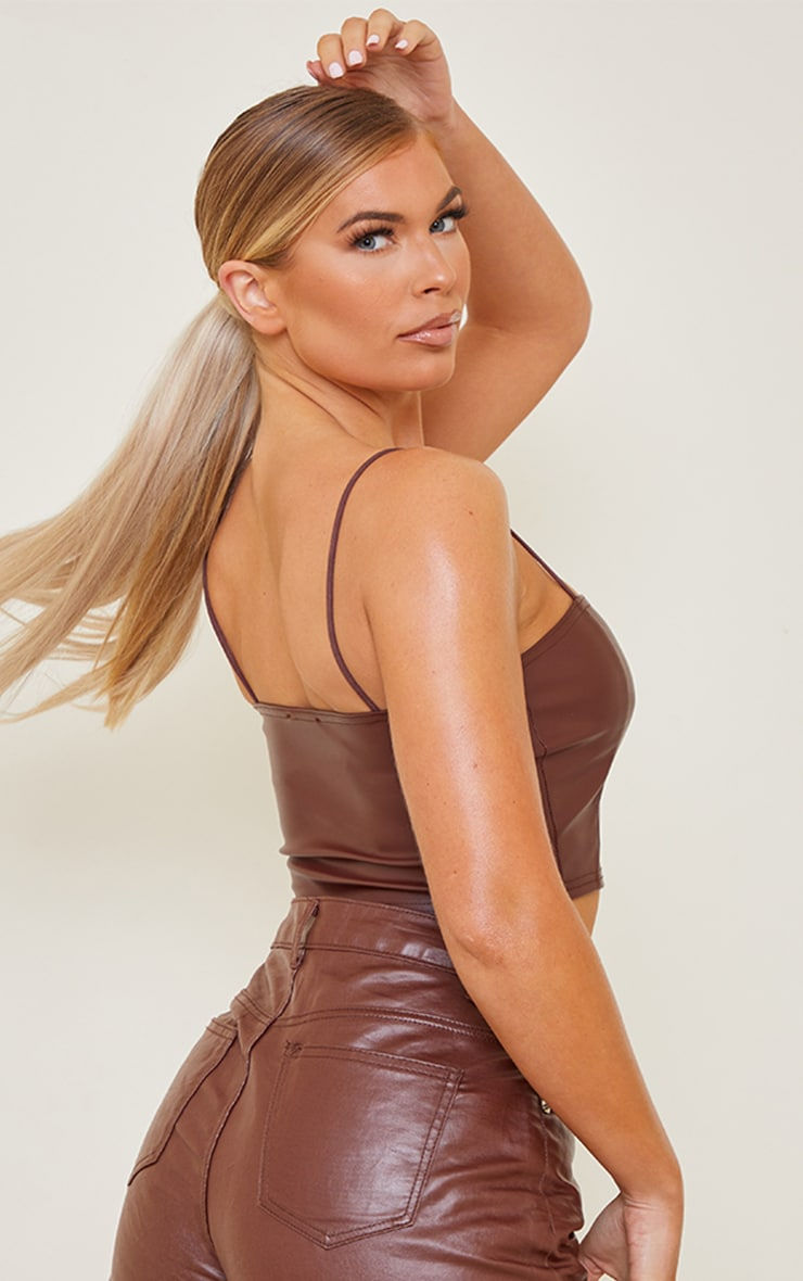 Chocolate Faux Leather Crop Top 2
