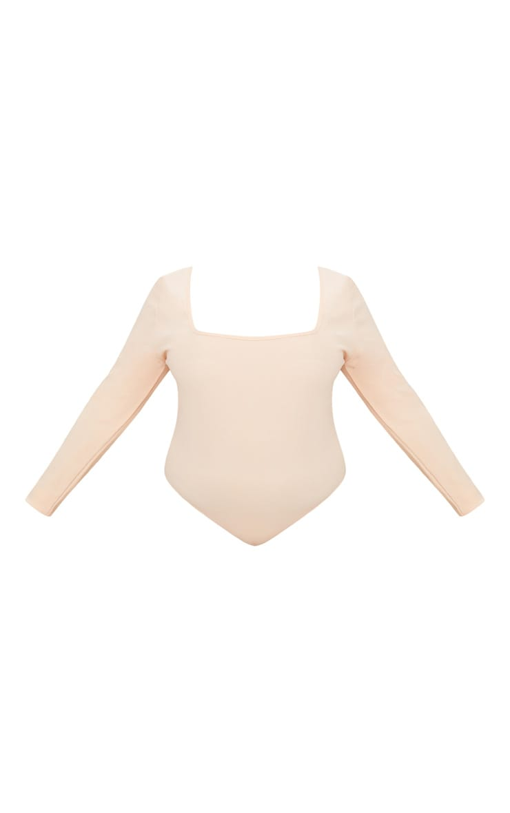 Plus Nude Ribbed Square Neck Bodysuit  3
