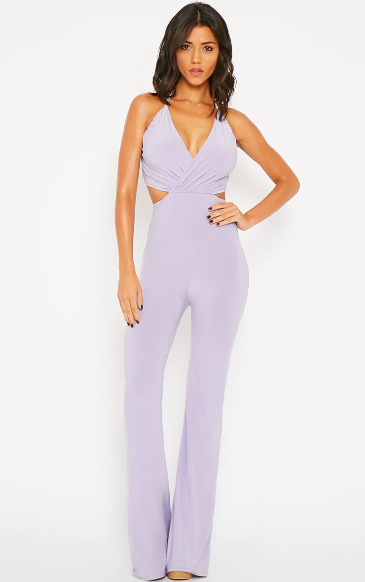 Tullia Lilac Slinky Cross Front Wide Leg Jumpsuit 4