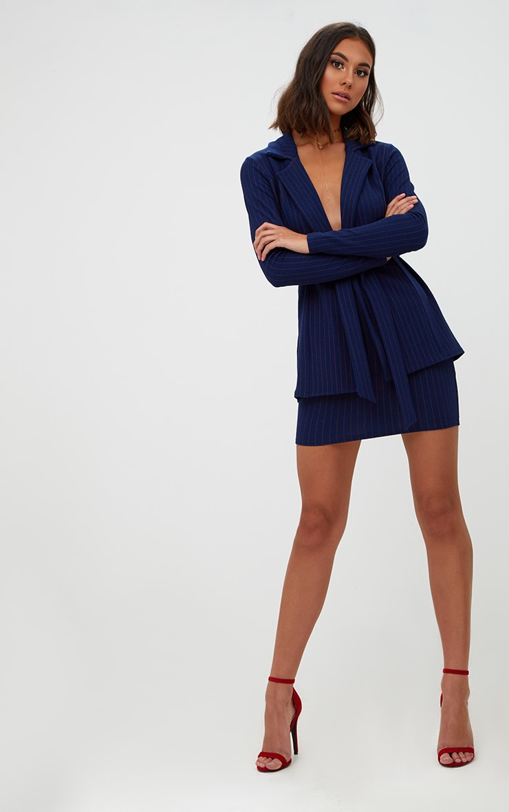 Navy Pinstripe Suit Skirt 4