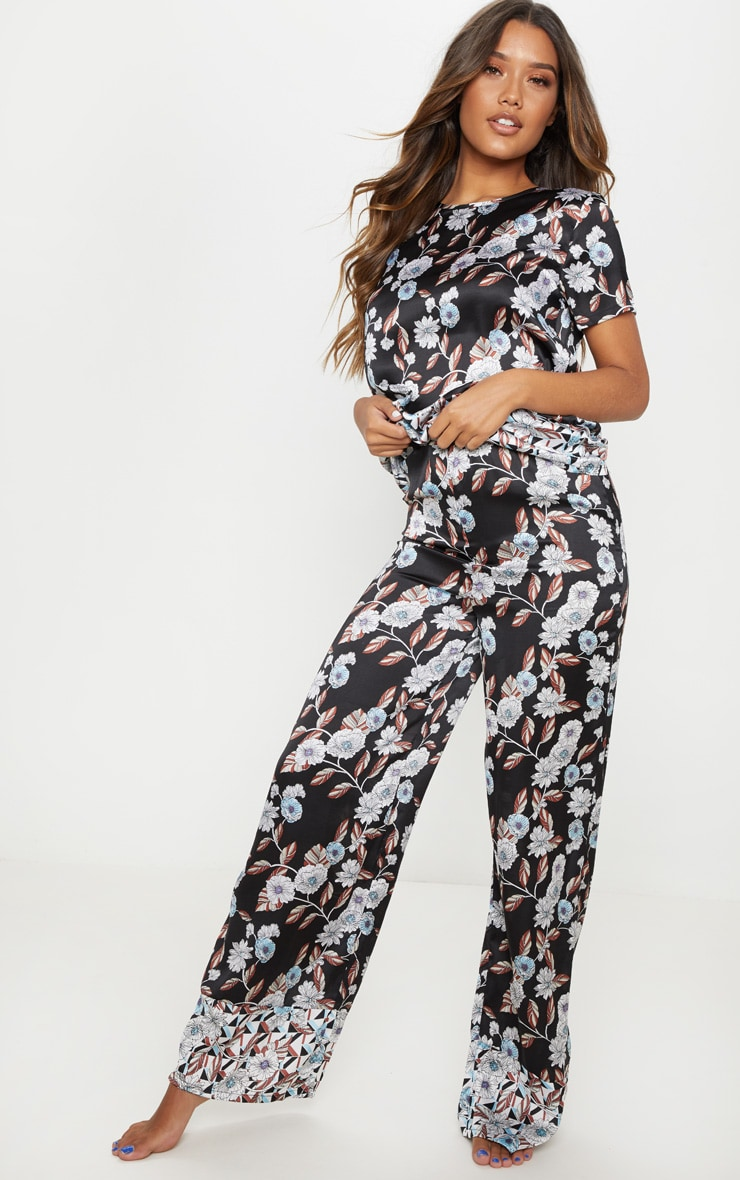 Black Geo Floral Satin Long Pyjama Bottom 1