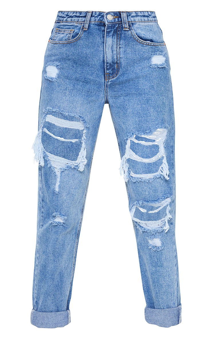 PRETTYLITTLETHING Tall Mid Blue Distressed Mom Jean 5