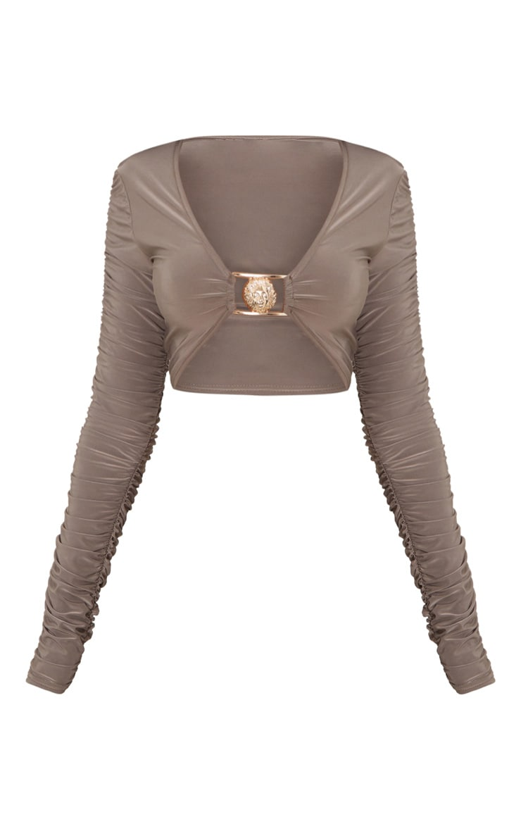 Mocha Lion Clasp Slinky Ruched Long Sleeve Crop Top  3
